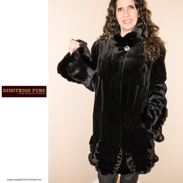 Fur Coat Black Sheared Mink Stroller with Scalloped Detail and Bell Sleeves