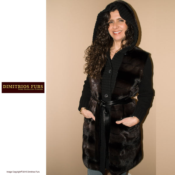 Mink Trimmed Sweater Coat with Hood