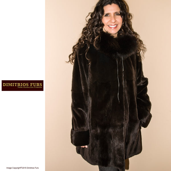 Reversible Fur Coat - Brown Sheared Mink with Fox Trimmed Hood