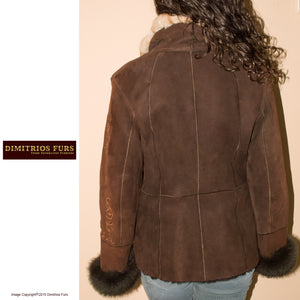 Brown Shearling Button Front Coat with Chinchilla Fur Trim