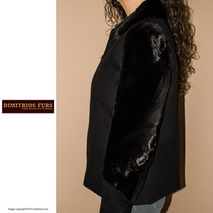 Cashmere Jacket with Sheared Mink Details