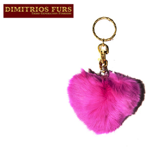 Rabbit Fur Heart Shaped Keychain