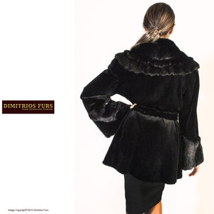 Black Sheared Mink Jacket with Unsheared Collar and Cuffs