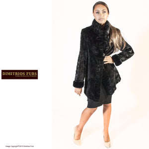 Sheared Cross-Cut Tuxedo Mink Reversible Raincoat