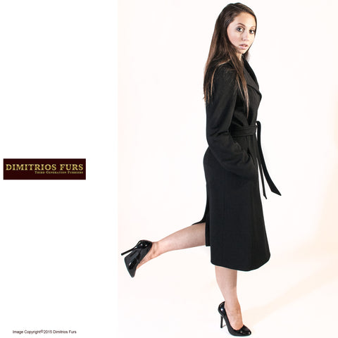 Long Black Loro Piana Cashmere Coat with Belt