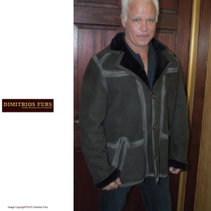 Men's Brown Merino Shearling with Chalk-Marked Seams