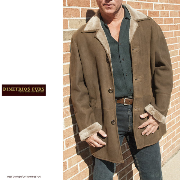 Men's Medium Brown Merino Shearling Jacket  size 52