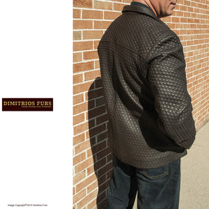 Men's Brown Lambskin Nappa Leather Textured Jacket