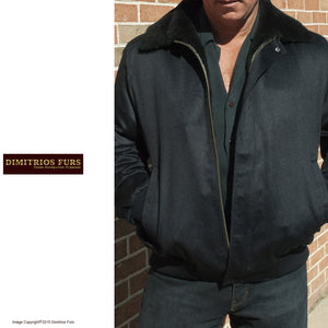 Men's Dark Blue Black Cashmere Wool and Shearling Bomber Style Jacket