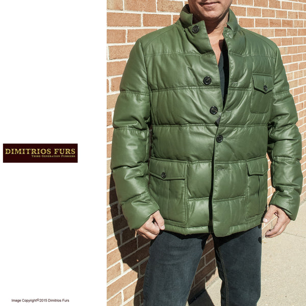 mens green nappa leather goose down parka size 52