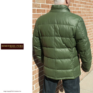 Men's Green Nappa Leather Goose Down Parka Jacket (close out sale)