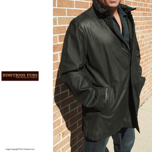 Men's Lightweight Black Leather Coat