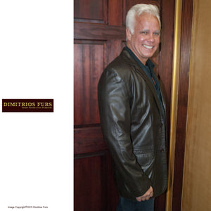 Men's Dark Brown Nappa Leather Blazer