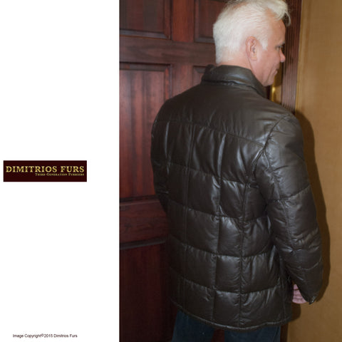 Men's Brown Leather Goose Down Parka
