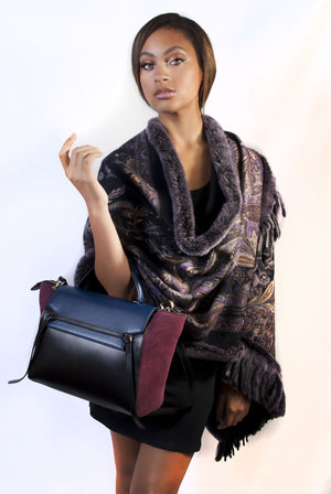 Paisley Print Reversible (Black) Cashmere Shawl with Fox Trim