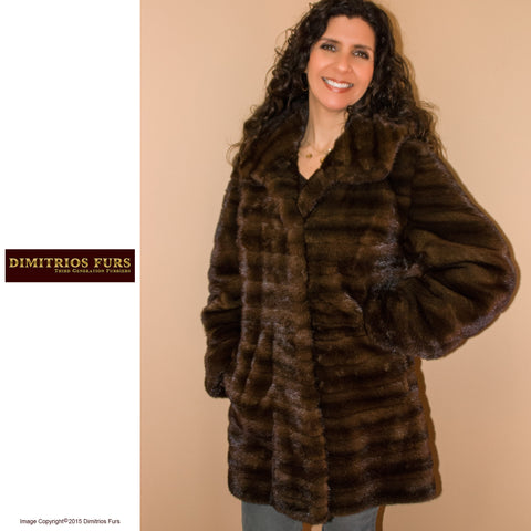 Demi Buff Remodelled Horizontal Mink Coat with Hood