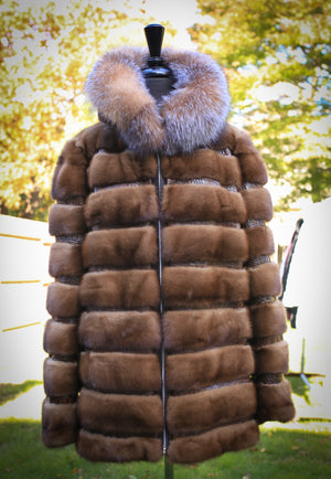 Demi Buff Mink Jacket with Fox Trim and Fur Hood - Brown