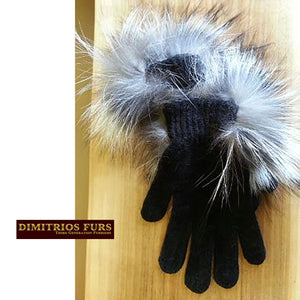 Fox Trimmed Chenille Gloves