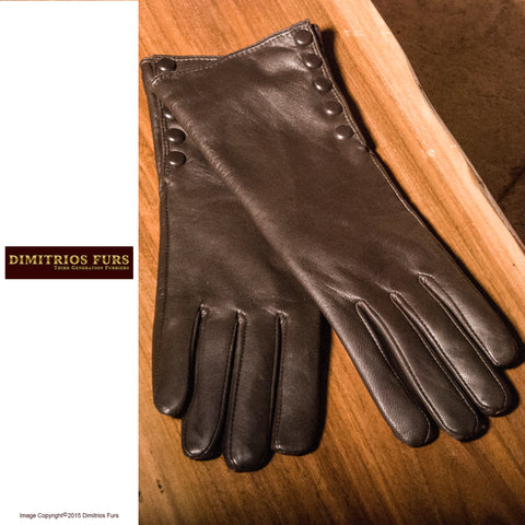 Womens Lambskin Leather Gloves Dark Brown