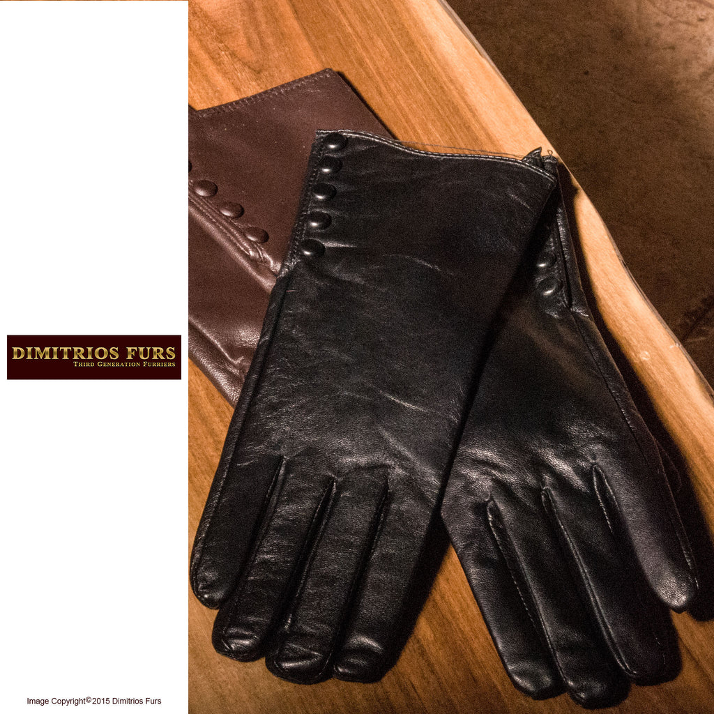 Womens Lambskin Leather Gloves Black