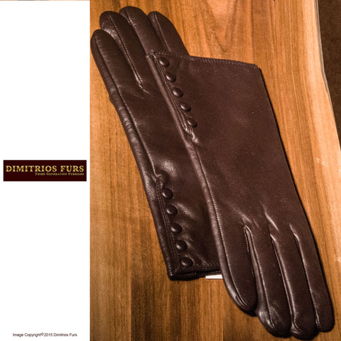 Womens Lambskin Leather Gloves Medium Dark Brown