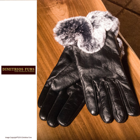 Women's Lambskin Leather Fur Trimmed Gloves - Vancouver