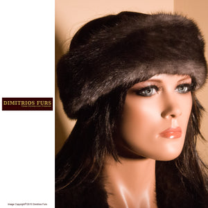 Fur Headband - Dark Gray Mink