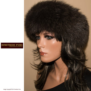 Fur Headband - Dark Gray Fox with Short Nap Fur