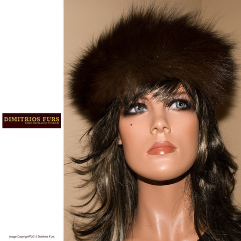 Fur Headband - Dark Brown Fox Fur