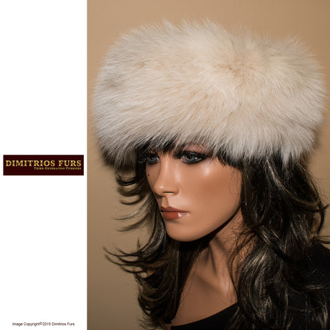 Fur Headband - White-Blush Fox Fur Headband