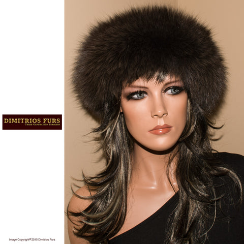 Fur Headband - Fox Fur Headband - Dark Gray, Long Nap Fur