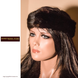 Fur Headband - Black Mink with Hints of Dark Brown