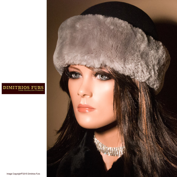 Women's Fur Hats - Black Wool Felt Hat Trimmed with Gray Beaver