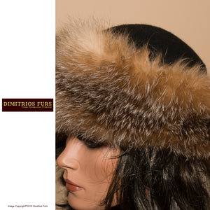 Womens' Fur Hats - Black Wool Felt - Crystal Fox Trim