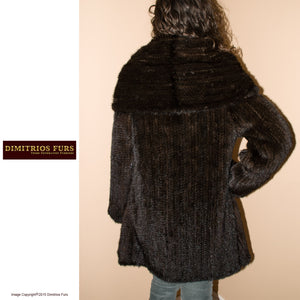 Knitted Mink Jacket with Large Shawl Collar