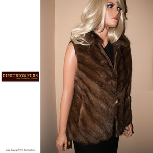 Mahogany Mink Leather Vest