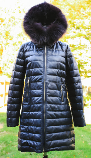 Goose Feather Down Leather Stroller with Black Fur Trim Hood