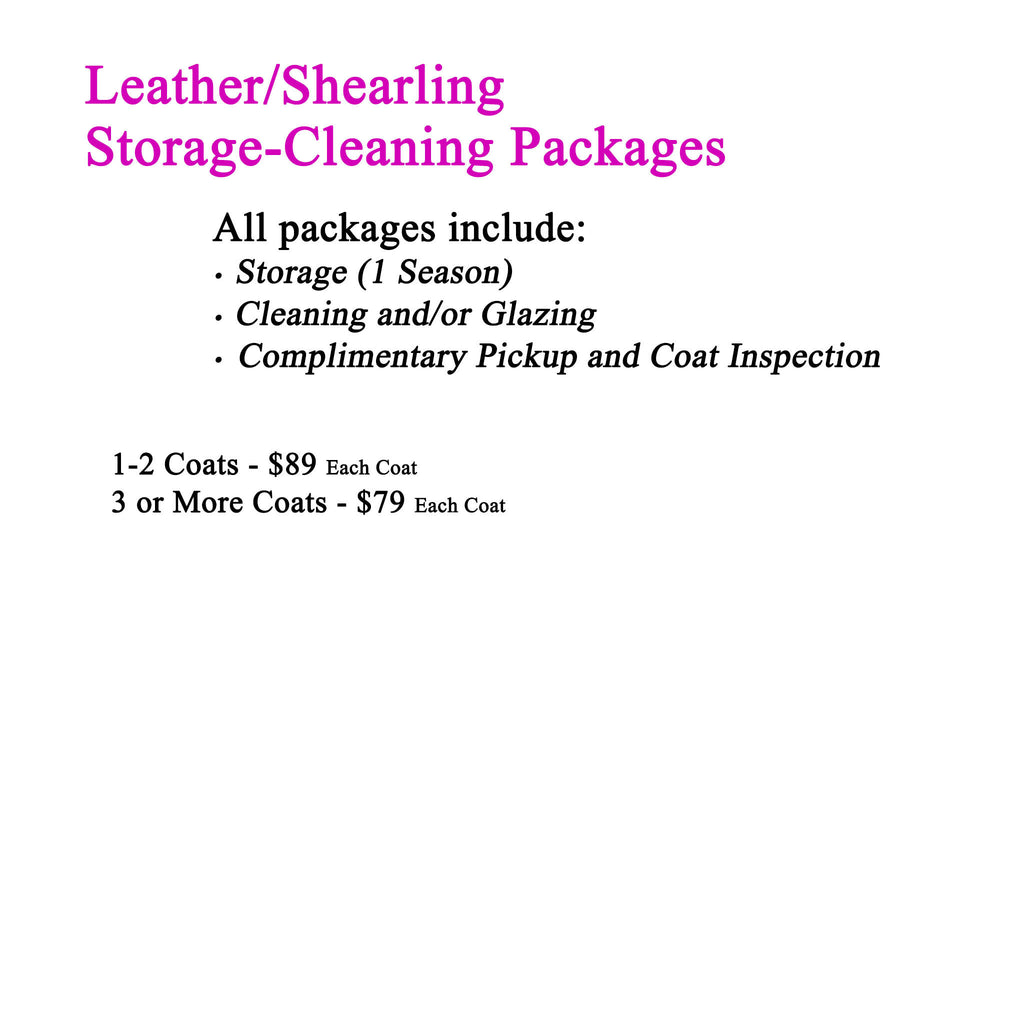 Storage-Cleaning-Pickup Packages for Leather or Shearling