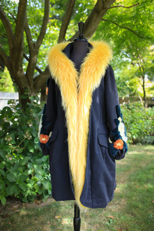 Microfiber Rainwear w/ Cashmere Lining and Fox Trim