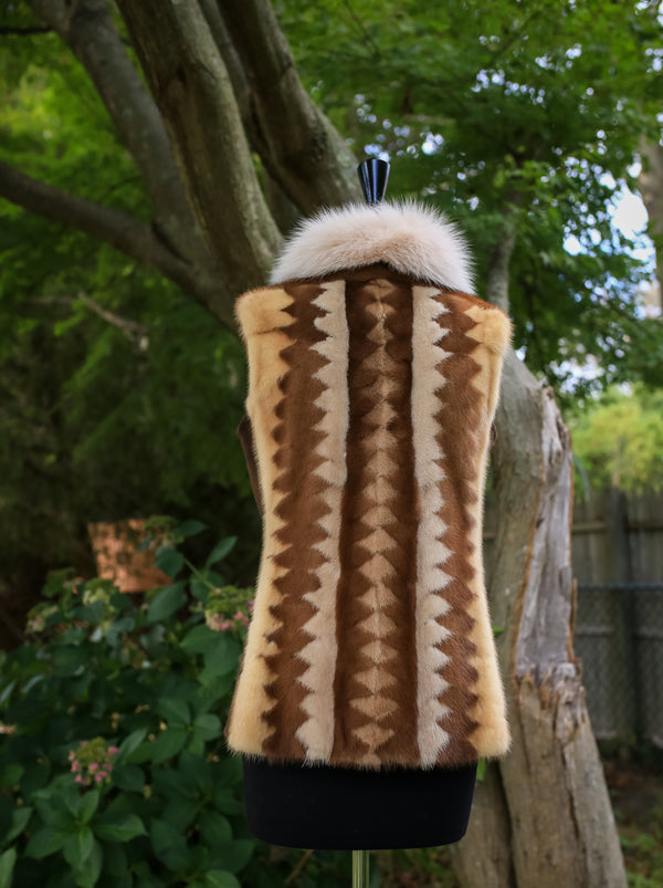 Multi Mink Herringbone Vest w/ Fox Collar