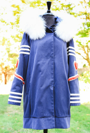 Parker Jacket with Lamb Trim and Fox Hood - Blue/White/Ivory
