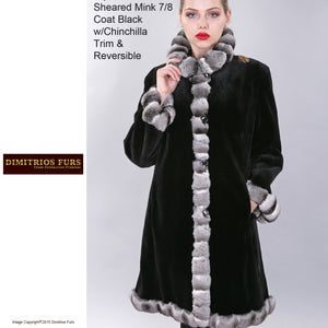 Custom Fur - Reversible Sheared Mink Fur Raincoat with Chinchilla Trim