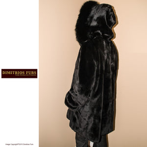 Reversible Fur Coat - Black Sheared Mink with Fox Trimmed Hood
