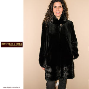 Sheared Mink Jacket with Horizontal Mink Details