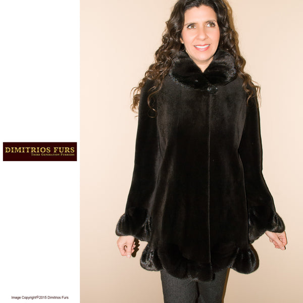 Fur Coat - Brown Sheared Mink Coat with Scalloped Hem