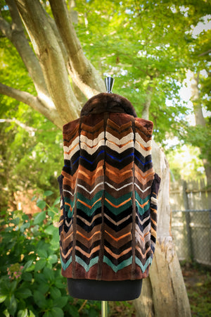 Sheared Mink Multi Color Chevron Pattern