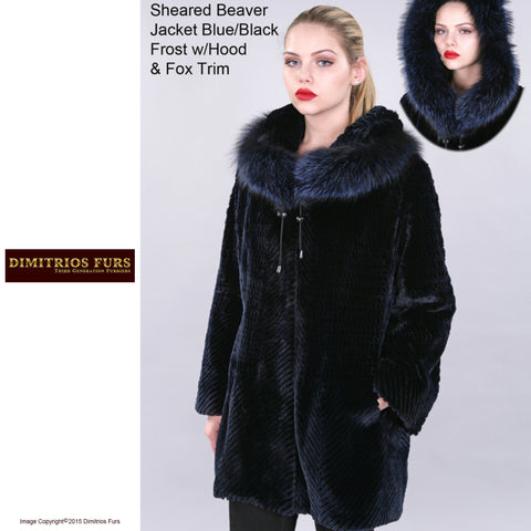 Custom Fur - Sheared Beaver Jacket with Frost Fox Trimmed Hood