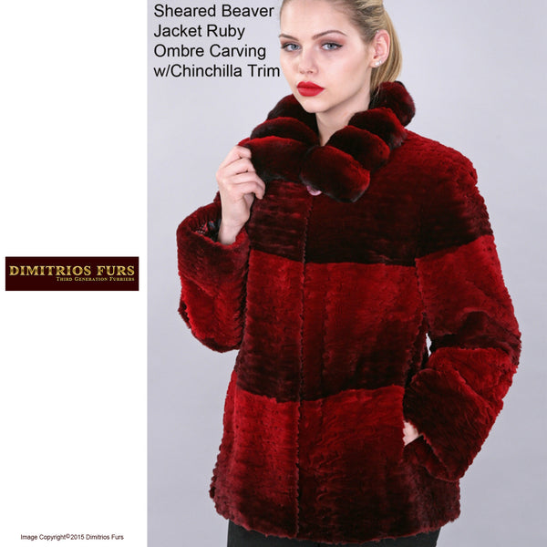 Custom Fur - Ruby Red Sheared Beaver Jacket with Chinchilla Trim