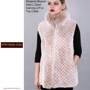 Custom Fur - Sheared Beaver Vest with Carved Pattern and Fox Collar