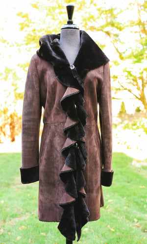 Shearling with Stitching Coat- Grey